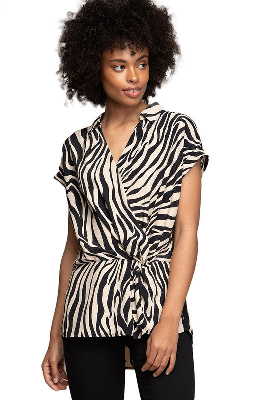 Zebra Print SS Twist Top - Free Souls Boutique