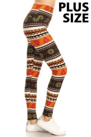 Plus Fair Isle Christmas Tree Leggings - Free Souls Boutique
