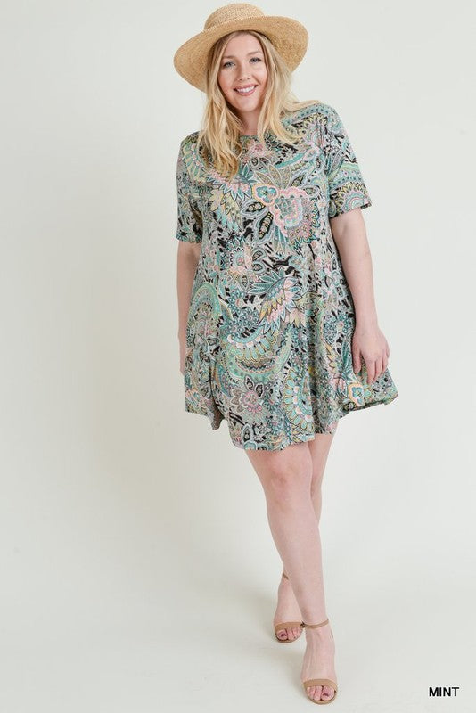 Plus Print Pocket Dress - Free Souls Boutique