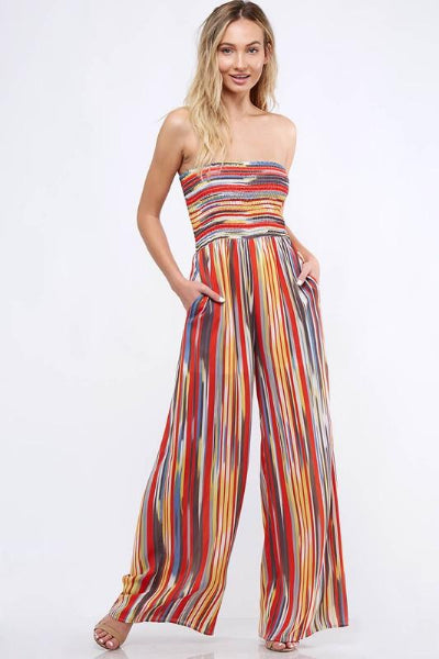 Stripe Smocked Off Shoulder Jumpsuit - Free Souls Boutique