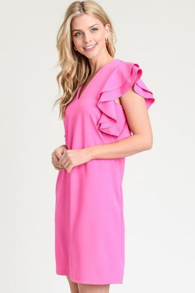 Solid Ruffle Sleeve Pocket Dress