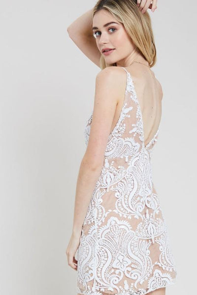 Shimmer Embroidery Mini Dress - Free Souls Boutique