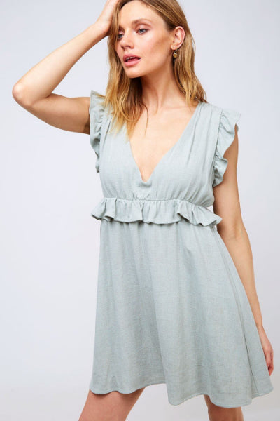 Ruffle Frill Trim Short Dress - Free Souls Boutique