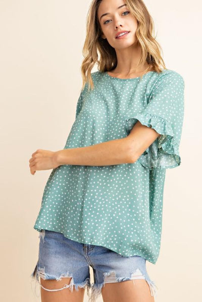 Ruffle Sleeve Polka Dot Top - Free Souls Boutique
