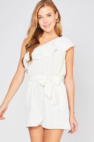 One Shoulder Ruffle Romper - Free Souls Boutique