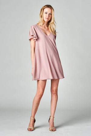 V-Neck Ruffle Sleeve Shift Dress - Free Souls Boutique