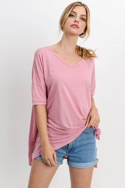 Side Slit V-Neck Top