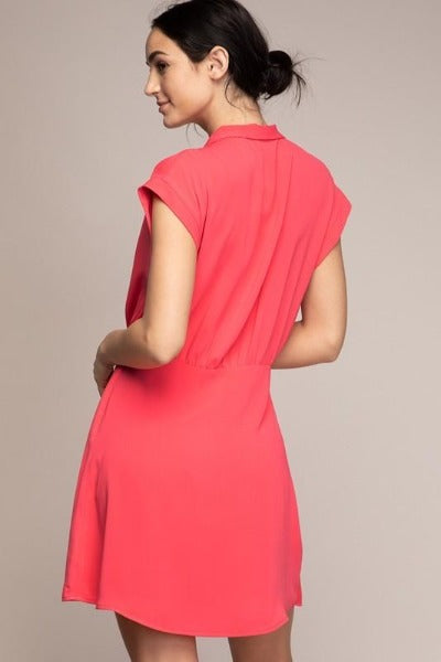 Solid Surplice Dress
