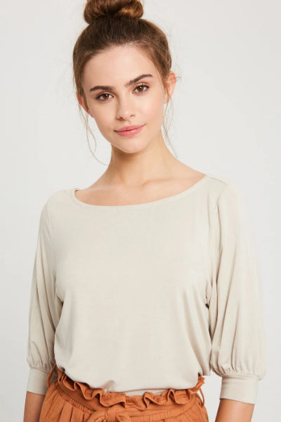 Balloon Sleeve Jersey Top - Free Souls Boutique