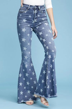 Star Print Super Flare Jeans - Free Souls Boutique