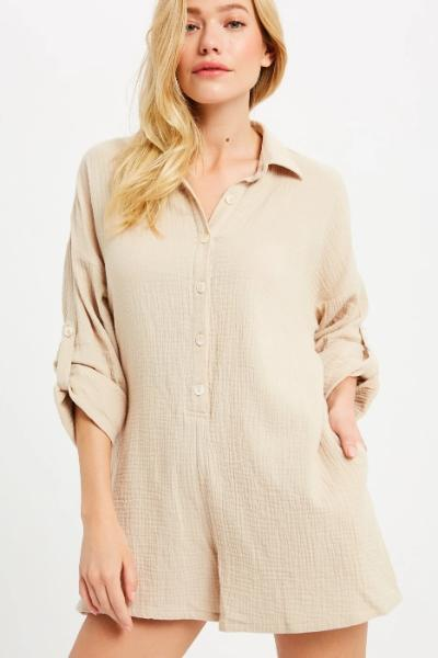 Long Sleeve Button Down Romper - Free Souls Boutique
