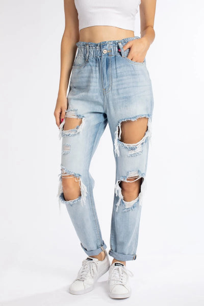 Open Hole Paperbag Jeans - Free Souls Boutique