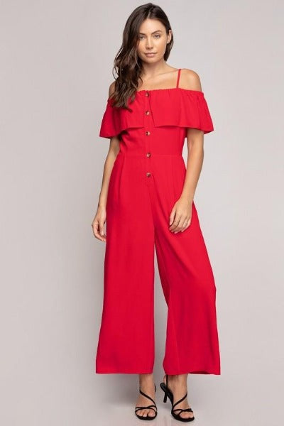 Button Front Off Shoulder Jumpsuit