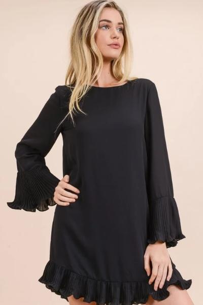 Long Sleeve Pleated Ruffle Dress - Free Souls Boutique