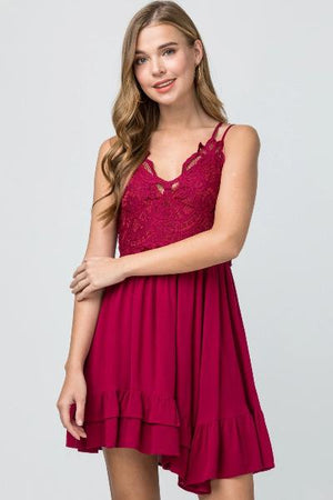 Crochet Bust Double Strap Dress - Free Souls Boutique