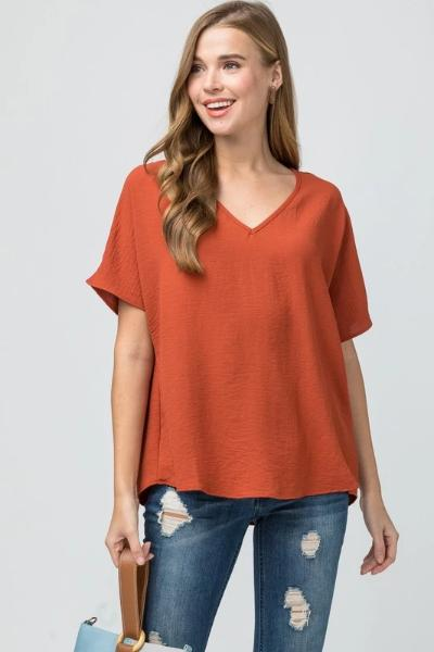 Asymmetric V-Neck Top - Free Souls Boutique