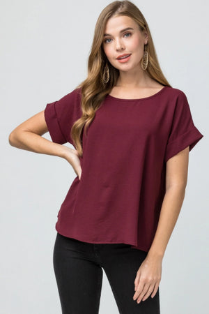 Roll Sleeve Scoop Neck Top - Free Souls Boutique