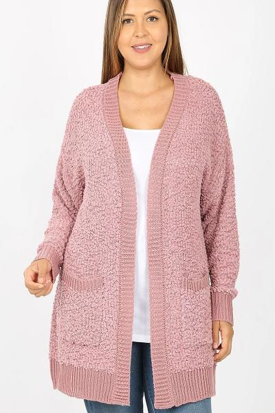 Plus Popcorn Pocket Cardigan - Free Souls Boutique