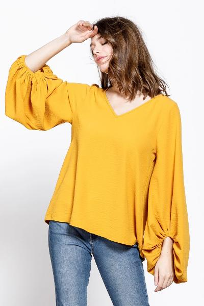 Solid Balloon Sleeve Blouse Top - Free Souls Boutique