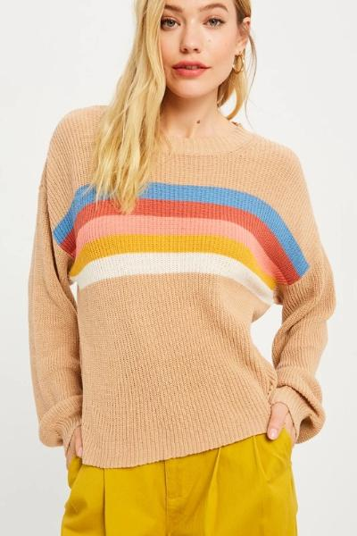 Rainbow Ribbed Sweater - Free Souls Boutique