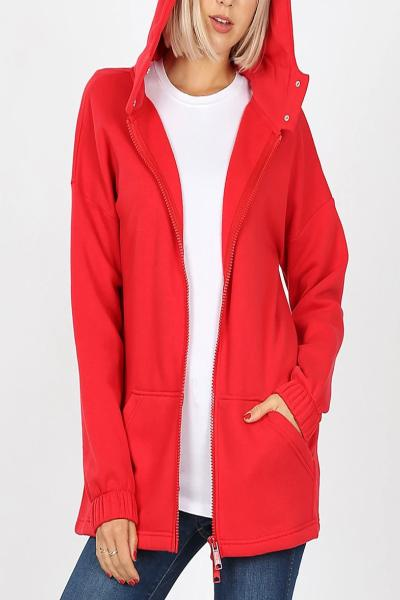 2-Way Zipper Hooded Jacket - Free Souls Boutique