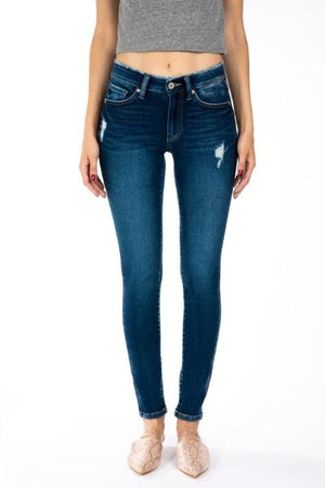 Mid Rise Distressed Super Skinny Jeans