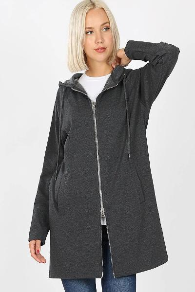 Long 2-Way Zipper Hooded Jacket - Free Souls Boutique