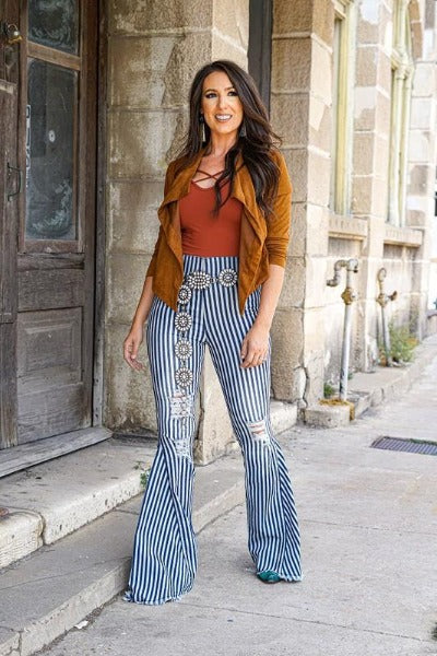 Highwaist Stripe Flare Jeans