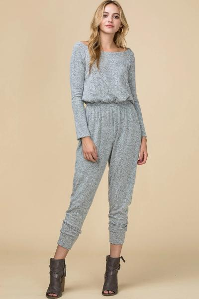 Brushed Boat Neck Jumpsuit - Free Souls Boutique