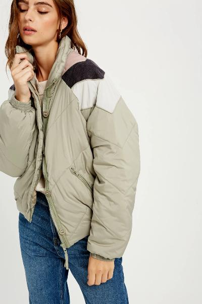 Colorblock Quilted Down Jacket - Free Souls Boutique