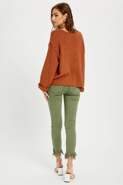 Notch Neck Sweater Top - Free Souls Boutique