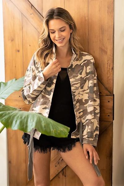 Camo High Neck Jacket - Free Souls Boutique