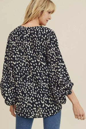 Spotted Drape Bubble Sleeve Top - Free Souls Boutique