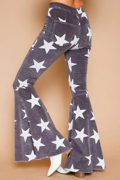 Star Printed Corduroy Flare Jeans - Free Souls Boutique