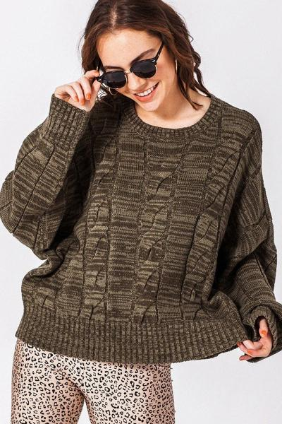 Heathered Cable Knit Sweater - Free Souls Boutique