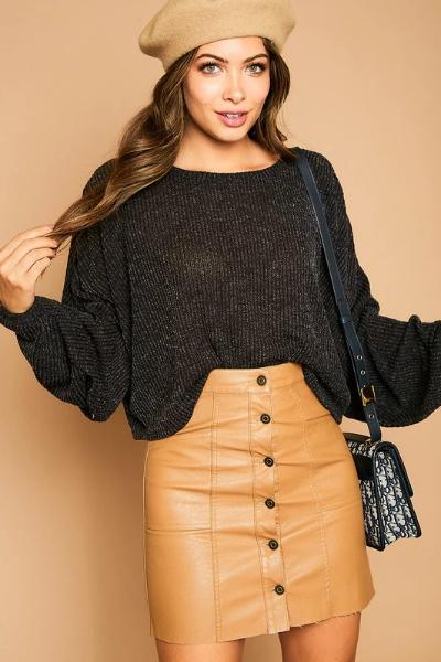 Balloon Sleeve Slouchy Ribbed Top - Free Souls Boutique