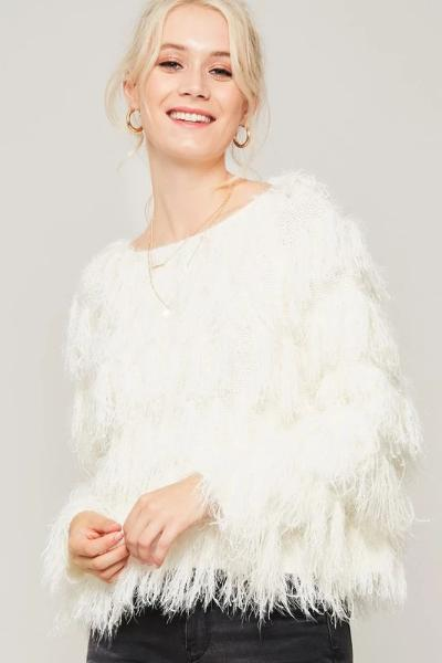 Shaggy Fringe Sweater Top - Free Souls Boutique
