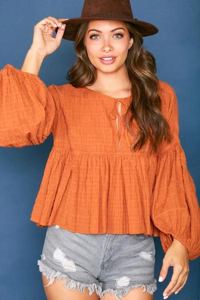 Tie Front Woven Top - Free Souls Boutique