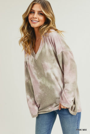 Brushed Tie Dye V-Neck Top - Free Souls Boutique