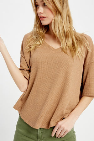 VNeck Thermal Waffle Top