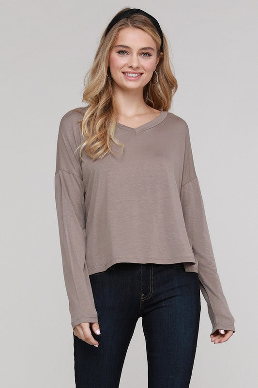 Drop Shoulder Modal VNeck Top