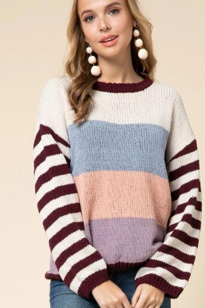 Striped Colorblock Sleeve Sweater - Free Souls Boutique