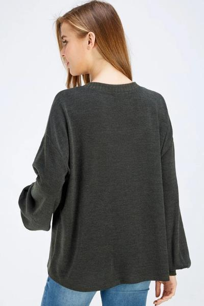 MIR Solid Brushed Sweater Top - Free Souls Boutique