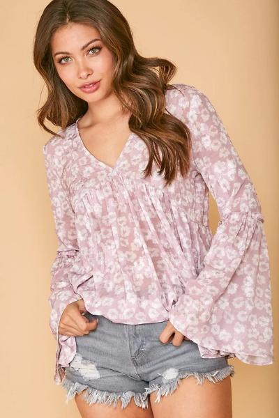 Bell Sleeve Floral Woven Top - Free Souls Boutique