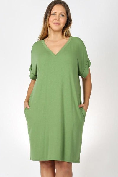 "Plus Zen 36"" Roll Sleeve V-Neck Dress"