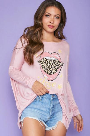 Leopard Lips Love Top - Free Souls Boutique