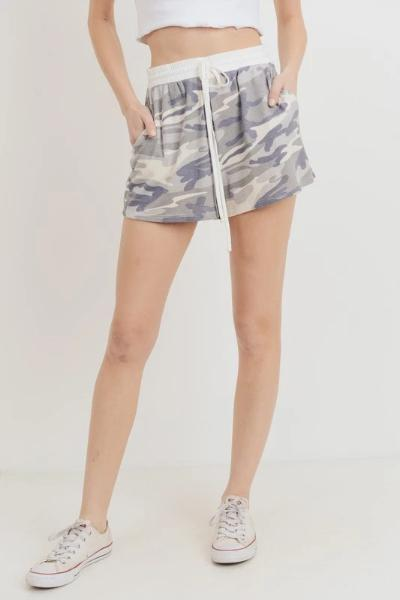 Camo Thermal Drawstring Shorts - Free Souls Boutique