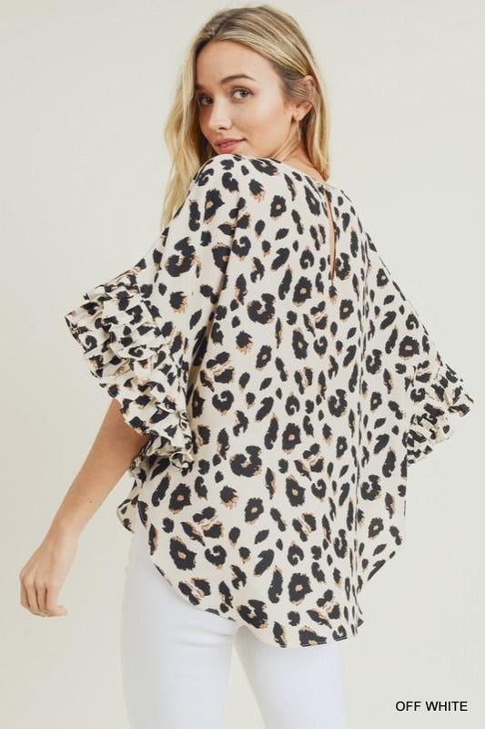 Ruffle Pleat Sleeve Leopard Top