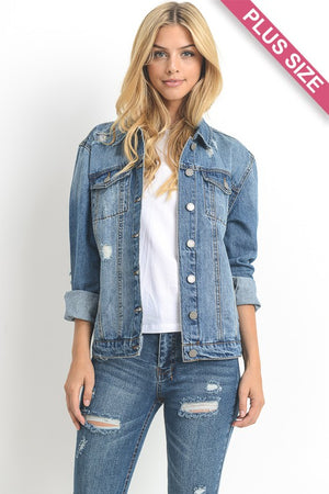 Plus Denim Jacket With Distressing