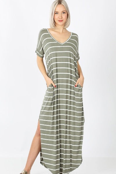 Zen Stripe Basic Maxi Dress